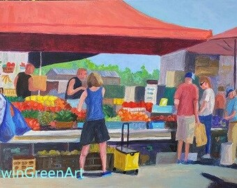 Roots Market in Manheim, PA. Acrylic Painting on Wrapped Canvas. 24x36 inches. Unframed. Giclée Print Available.