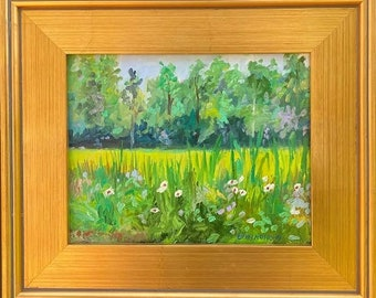 Chesapeake Bay Oil Painting-Marsh Mallow in Spartina Marsh. 8x10 on Stretched Canvas. Framed or Unframed. Giclée Print Available.