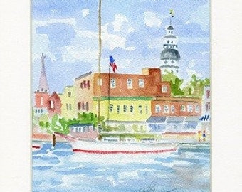 Annapolis Watercolor-Skipjack. 8x10 Matted. Unframed.