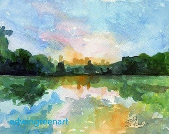 Mt. Gretna, PA Watercolor-The Lake at Sunset. Matted 11x14 (8x10 image). Giclée Prints Available.