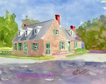 Yorktown, VA Watercolor-Cole-Digges House. 11x4 Matted (8x10 image)