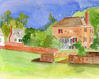 Yorktown, VA Watercolor-Customs House. 11x14 Matted (8x10 image).