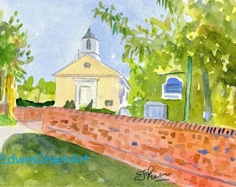 Yorktown, VA Watercolor-Grace Episcopal Church. 11x4 Matted (8x10 image)