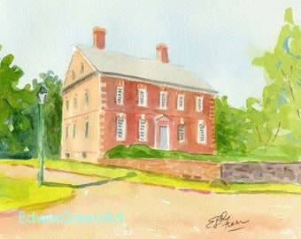 Yorktown, VA Watercolor-Thomas Nelson House. 11x14 Matted (8x10 image).