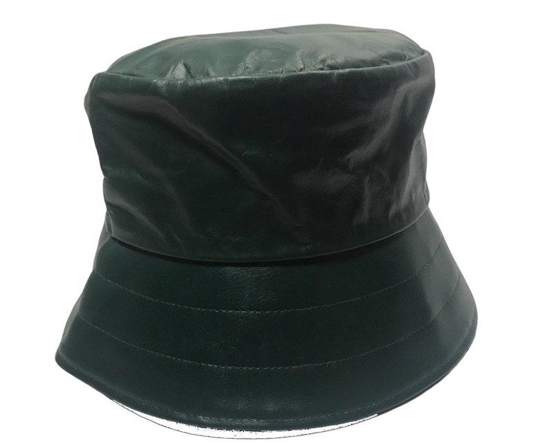 Fashion Men Women Genuine Leather Bucket Hat Fisherman Cap