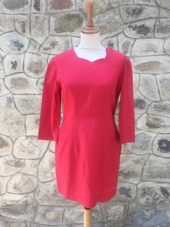 Strawberry red tailored handmade dress