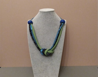 Blue and green fabric necklace with big blue wooden beads