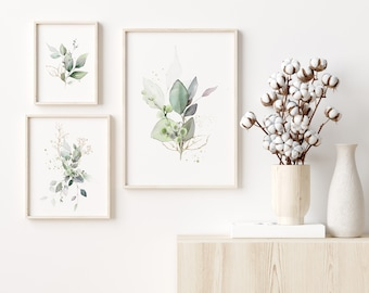 Green and Gold Botanical Prints, Instant Download, Set of 3, Printable files