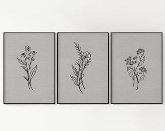 Grey Botanical Wall Art, Set of 3, Instant Download, Ready to Print, Various Sizes