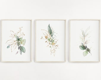 Set of 3 Green and Gold, Botanical Art Prints - FREE UK DELIVERY, Super Fast Shipping, Singles Available