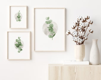 Set of 3 Eucalyptus Prints, Botanical Art - FREE UK DELIVERY, Super Fast Shipping, Singles Available