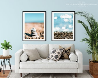 Set of 2 Stony Beach Prints - 2 Print Sizes A3 & A4, FREE UK DELIVERY, Super Fast Shipping
