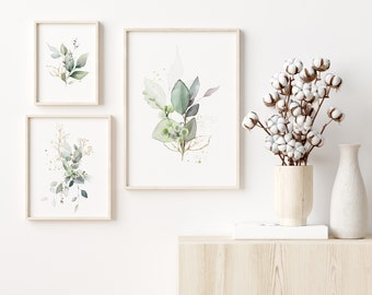 Set of 3 Green and Gold Botanical Prints, Botanical Wall Art, FREE UK DELIVERY, Super Fast Shipping, Singles Available