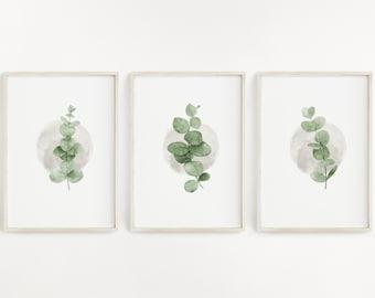 Eucalyptus Watercolours, Instant Download, Set of 3, Printable files