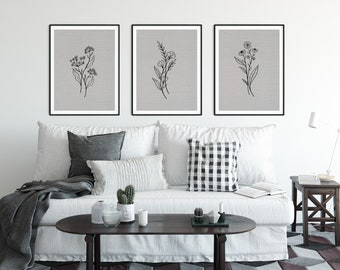 Set of 3 Grey Botanical Prints - FREE UK Delivery | Modern Home decor | Fast shipping |
