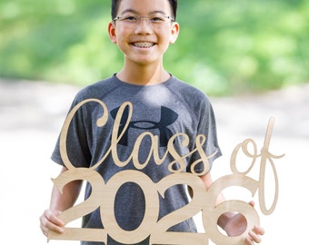 Class of 2026 (any year)  - Wood Cutout Sign - Laser -  Photo Booth Prop - Wooden Decor - Benefits The Houston Food Bank