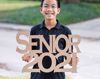 SENIOR 2022 (any year) - Wood Cutout Sign - Laser -  Photo Booth Prop - Wooden Decor
