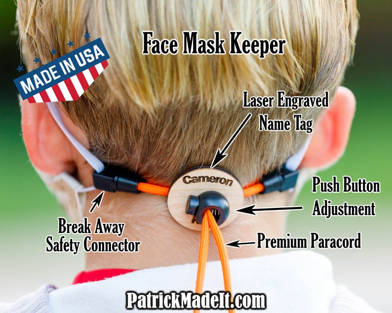 Kid's safety face mask lanyard with break-away connector. image 0