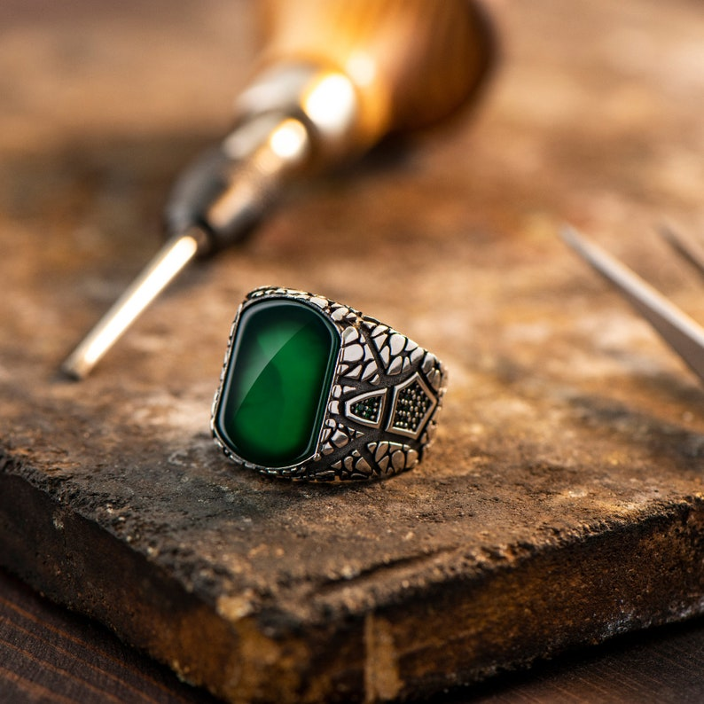 925 Sterling Silver Men Ring Man Vintage Ring Green Agate Ring Gift for Christmas Men Handmade Jewelry Ring Square Gemstone Ring