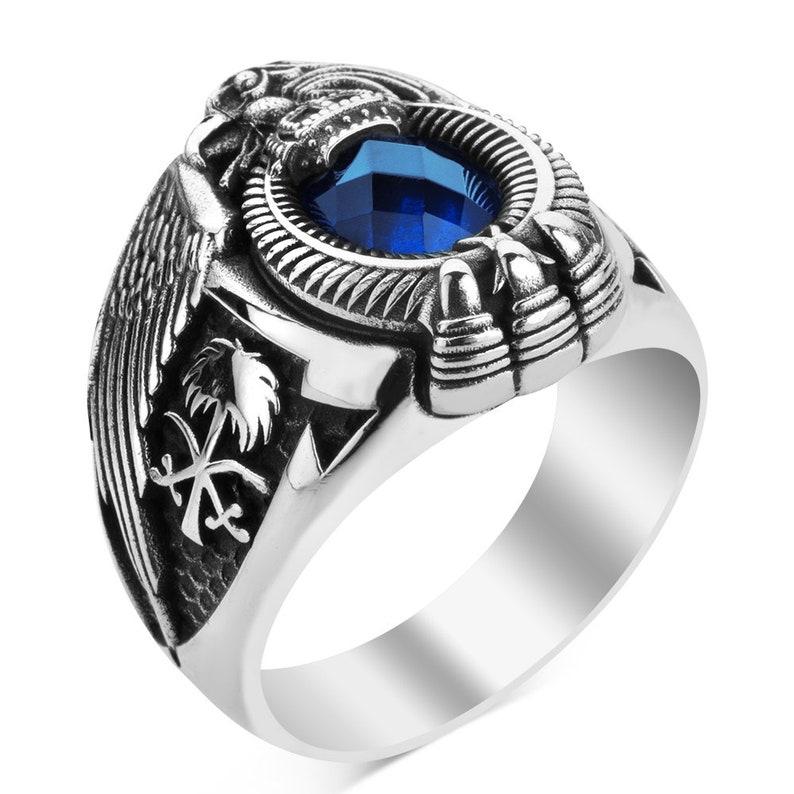 Zircon Stone Ring with Eagle Symbol Emblem of Saudi Statement Ring Saudi Arabia Silver Men Ring Gift for Him Saudi Arabia National Ring