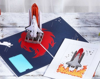Rocket Space - Pop Up 3D Card Special Occasion Hobby Fun Birthday