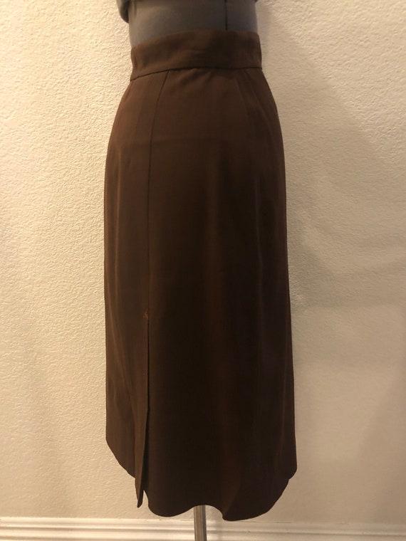 1950's Brown Wool Pencil Skirt