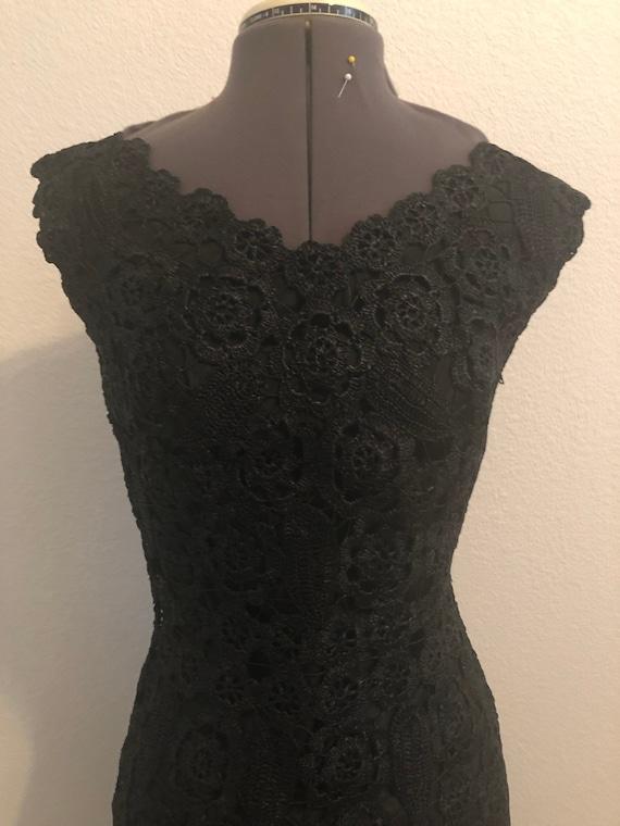 1950s Vintage Black Raffia Cocktail Dress