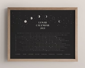 lunar calendar 2021   moon phase calendar 2021   black and white moon calendar print   moon phases poster astronomy gifts   witchy decor