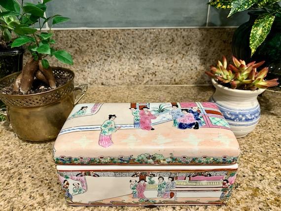 Vintage Homart Asian Inspired Trinket Box Orange Floral Crackle Ring Dish,Hand Painted Vintage Jewelry Box