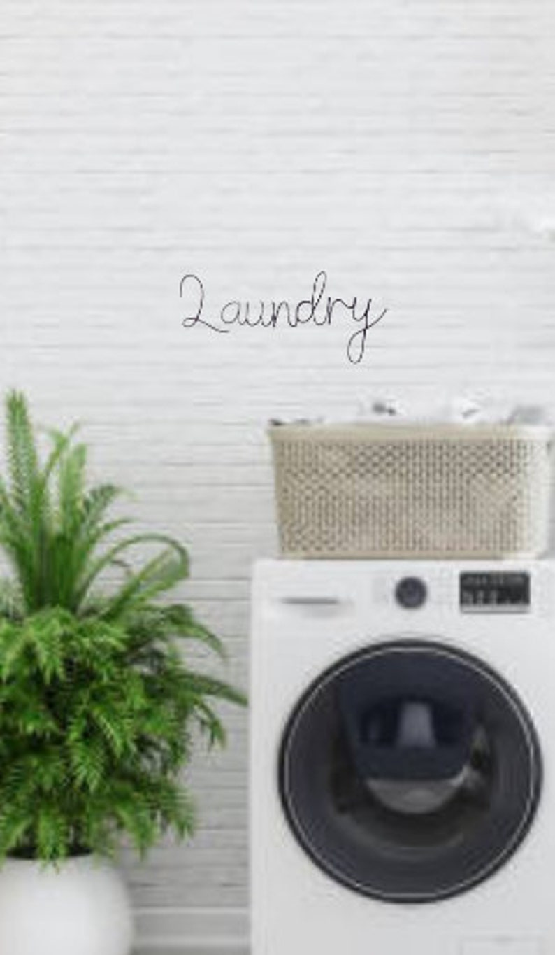 Wall decor Wall sign Metal Wall Art Utility Room Sign in Boho Font Hinching Handmade LAUNDRY Wire Word Wire Words Home Decor