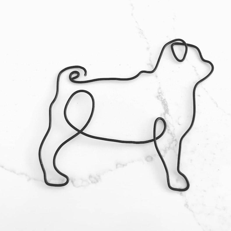 Handmade Wire Pug Or Bulldog Wall Art Silhouette Reversible Etsy