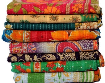 Wholesale Lot Of Indian Vintage Kantha Quilt Handmade Throw Reversible Blanket Bedspread Cotton Fabric BOHEMIAN quilt