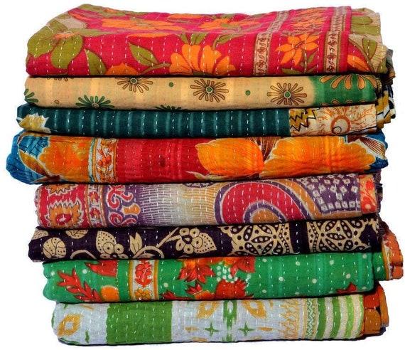Bohemain Vintage Kantha Quilts Indian Floral Print Cotton Saree Reversible Throw  ART-RL247 By artisanofrajasthan