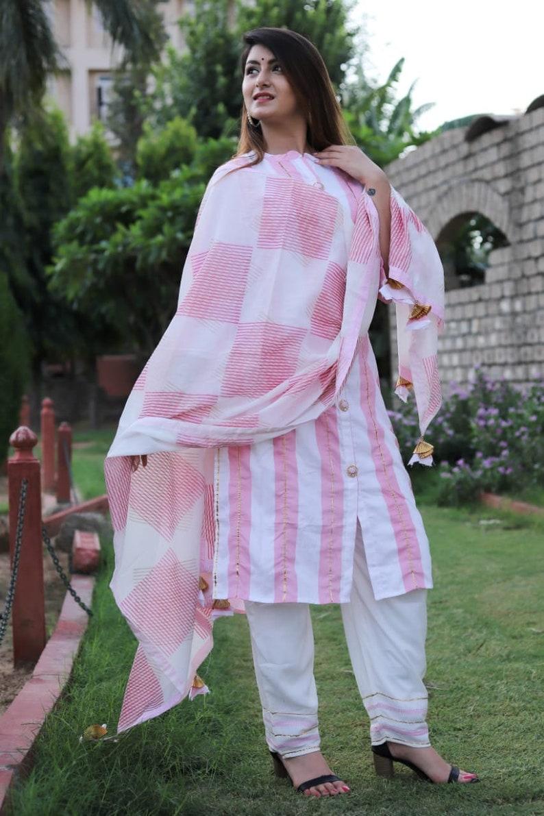 Indian Cotton Designer Printed Kurti Pant Set with Dupatta For Women and Girls Classic Trendy Stylish Pazzo Set Women Indian Kurti