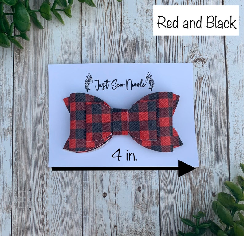 Faux Leather Hair Bows on Alligator Clips Plaid 4 in