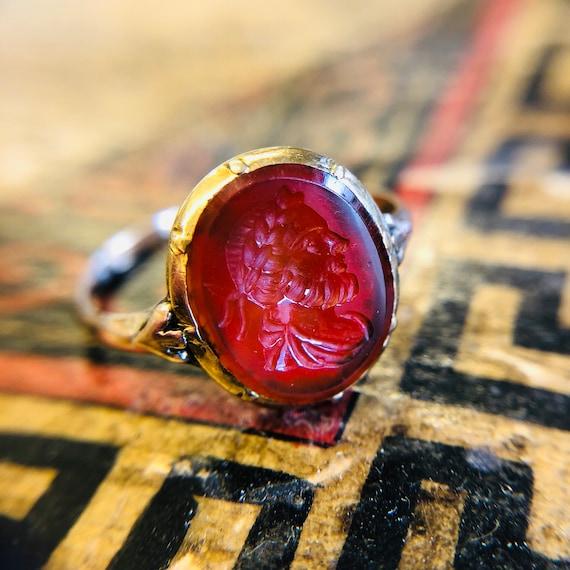 18th Century, Antique, Gold Intaglio Ring