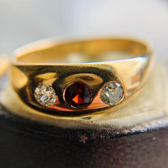 Antique Victorian, Hessonite Garnet and Diamond Gy