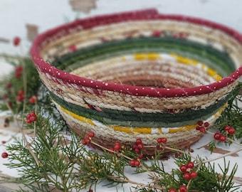 Fabric Scrap Bowl - {Cozy Christmas} - Fabric Rope Bowl, Rope Bowl, Coiled Clothesline, Coiled Rope Basket, Holiday Decor, Christmas Decor