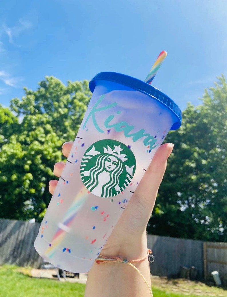 Personalized Starbucks Color Changing Confetti Cups