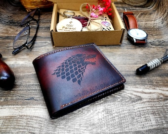 Personalized leather wallet, Mens leather wallet, mens wallet, House Stark Wallet, Mens bifold trifold wallet, Personalized Wallets for Men