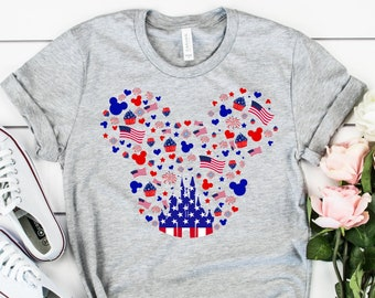 Happy Independence Day Mickey Ear Shirt, 4th Of July Shirt, Mickey Mouse Head Shirt, Patriotic Shirt, Mickey Mouse Tee