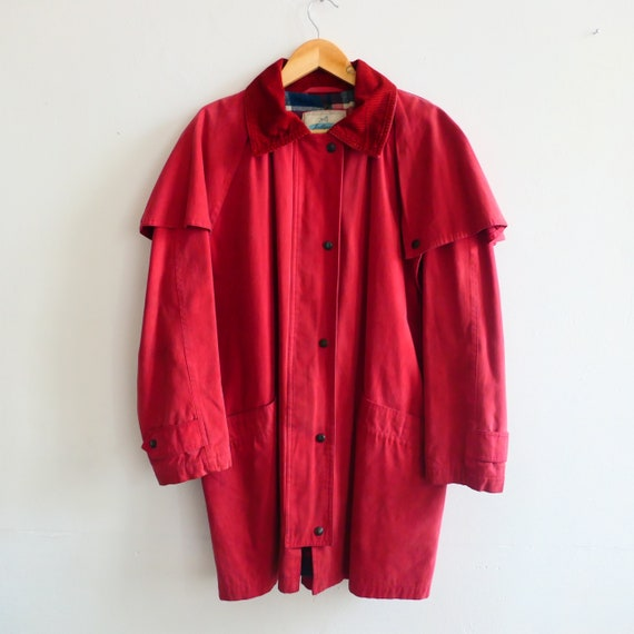 Vintage rusty red rain countryside Coat Jacket Ove