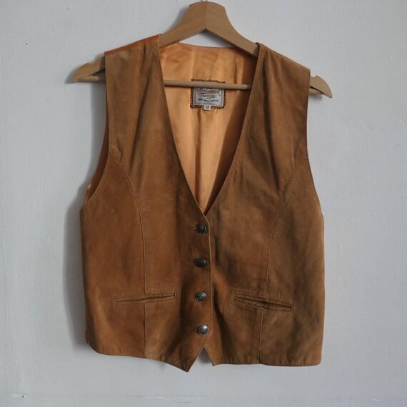 Vintage Suede Leather Tan Orange Waistcoat Jacket