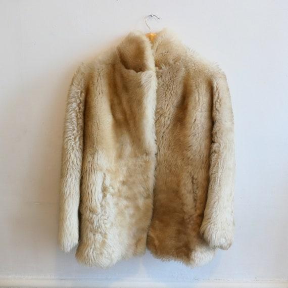 Vintage faux fur Cream Beige Coat Jacket Overcoat