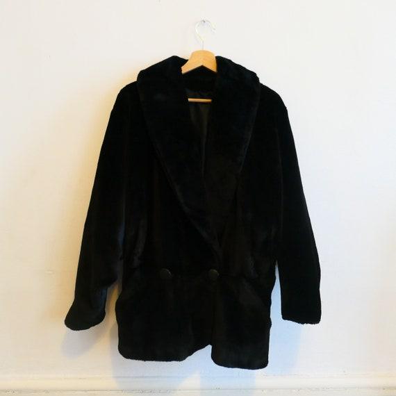Vintage faux fur Black Coat Jacket Overcoat Retro