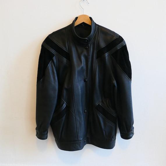 Vintage Black Leather Coat Jacket Overcoat Retro s