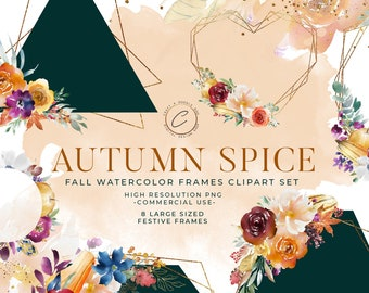 Watercolor Fall Frames Clip art, Gold Autumn Wreaths, Rustic Wedding Floral Clipart PNG Commercial Use, Boho Botanical Border Branches Berry