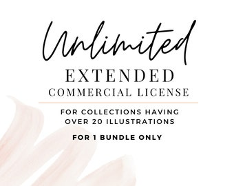 Extended Unlimited Commercial License , Over 20 Watercolor / Digital Download Illustrations, PNG Clipart Printable Digital Paper & Graphics
