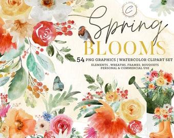 Spring Clipart Watercolor Commercial Use, Bright Floral PNG Summer Wedding Clipart Set Flower Wreath Botanical Frames Bouquet Arrangements