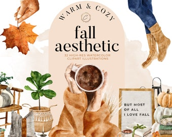 Watercolor Fall Decor Clipart, Cozy Autumn Clip art Commercial Use PNG, Rustic Farmhouse Aesthetic, Hygge Fall activities Digital Download